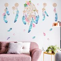 feder wohnzimmer dekor großhandel-Einzelhandel 110 * 130 cm traumfeder wandaufkleber für ins kinder wohnzimmer schlafzimmer hintergrund wohnkultur wandkunst bilder dekorationen tapete