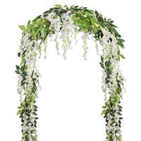 künstliche reben weiß großhandel-Künstliche Gefälschte Glyzinien Reben Rattan Hängende Girlande Weiße Seidenblumen String Home Party Hochzeit Dekoration Outdoor Arch Decor