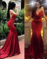 Wholesale mermaid prom dresses for sale - Sexy Mermaid Spaghetti Strap Red Prom Dresses Sweep Train Satin Backless Appliques Lace Formal Evening Gowns Special Occasion Dress