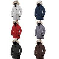 kürklü kaput bombardımanı ceketi toptan satış-Kanadalı Kış kadın Bombacı Homme Parka Jassen Kamuflaj Giyim Büyük gerçek kurt Kürk Kapüşonlu kadın Aşağı Ceket Kış Ceket Outlet