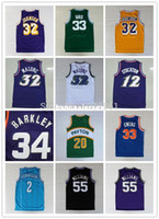 ingrosso jersey kemp-Maglia da basket retrò Larry Bird Johnson Stockton Karl Malone Jason Williams Ewing Gary Payton Maglia Kemp Barkley Ncaa