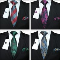 kravat seti hırka kol düğmesi toptan satış-Ekose Serisi Kravat Set Moda Erkekler Klasik Ipek Mendil Kol Düğmeleri Jakarlı Dokuma Kravat Erkekler İş Kravat Seti TTA1116