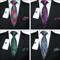 krawattenmanschettenknöpfe großhandel-Plaid Series Tie Set Mode Herren klassische Silk Hanky Cufflinks Jacquard Woven Krawatte Männer Business Tie Set TTA-1116