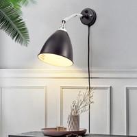 kupfer nachttischlampen großhandel-Nordic Designer Moderne Einfache American Pure Copper Retro Wohnzimmer Nachttischlampe LED Swing Schlafzimmer Wandleuchte