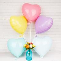globos de aluminio en forma al por mayor-2019 18 pulgadas en forma de corazón pinkycolor Foil Helio Globos Decoración de la fiesta de cumpleaños de la boda Baby Shower Suministros para eventos