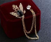 ingrosso eagle brooch-Spilla di design vintage strass di alta qualità di cristallo aquila pin spilla nappa spilla gioielli per le donne regalo oro