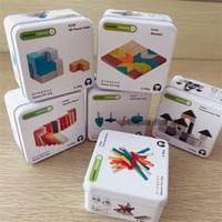 Wholesale intelligence diy toys for sale - Group buy Metal Box Kids Wooden Build Blocks Intelligence Toys Bricks Toy Fantastic DIY Stick Building