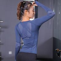 cuello de encaje negro al por mayor-Nueva malla de encaje Splice Tees Summer Casual Cool camisetas azul negro Rose Gym Sports Girls Tops mujeres manga larga Fitness deporte desgaste señora