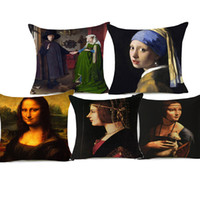Wholesale plain earrings resale online - Mona Lisa Smile Europe Oil Painting Cushion Cover Girl With A Pearl Earring Pillow Cover Thick Linen Cotton Pillow Cases Sofa Seat Decor
