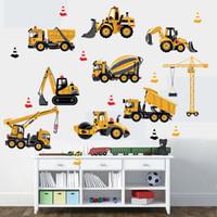 vinilo autoadhesivo de ladrillo al por mayor-Camión excavadora con dibujos de ingeniería coches de la historieta DIY Wall Stickers Niños habitación etiqueta de la pared del fondo DecorativeMM jardín de infancia