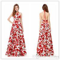 jolie robe de bal deux pièces achat en gros de-Vogue Halter Robes De Bal Ever Pretty Halter Deux Pièces A-Line Flora Plissé Robe De Soirée De Bal 2019 Femmes