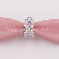 Authentic 925 Sterling Silver Beads Magnolia Bloom, Pale Cerise Enamel & Pink Cz Charms Fits European Pandora Style Jewelry Bracelets 001