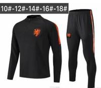 trajes de niños ropa deportiva al por mayor-2018 19 Chaqueta de fútbol holandesa para niños Chándal 18 19 chandal Trajes de entrenamiento holandeses V.PERSIE MEMPHIS PERSIE Camiseta deportiva de fútbol