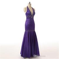 blaues juwel kleid schlitz seite großhandel-2019 Sexy Neckholder Abendkleider Backless Elegant Mermaid Schwarz Lila Satin Party Prom Kleider Bodenlangen SD176
