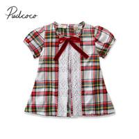ingrosso abito di marca per bambino-2019 Brand New 1-6Y Toddler Bambini Neonate Abito a quadri in pizzo patchwork plaid stampa A-Line Dress Princess Party Gown Estate