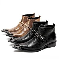 Wholesale mens western dress boots resale online - Fashion Italy Ankle Genuine Leather Black Snake Skin Men Shoes Cowboy Mens Western Motorcycle Boots Dress Shoes