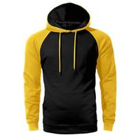 negro rojo amarillo con capucha al por mayor-Solid Raglan Hoodie Men Negro Rojo Amarillo Azul Hipster sudadera con capucha Hot Spring Otoño Hoodies Loose Streetwear Sportswear