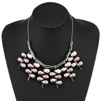 ingrosso collana nappa imitazione-Collana lunga moda multi-strato in lega di collare d'imitazione perla nappa colore misto collana donna gioielli