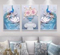 ingrosso pavone di pittura di tela di arte della parete-New Western Style Abstract 3 Pezzi Coppia tridimensionale Vaso Pavone Stampato su tela Pittura Soggiorno Wall Art Immagini