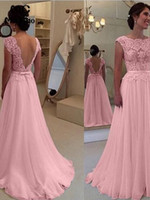 Wholesale pink gowns resale online - 2020 Sheer Pink Lace Long Prom Dresses A Line Evening Gown V Backless Chiffon Vestido de festa Women Formal Party Dress Custom Made