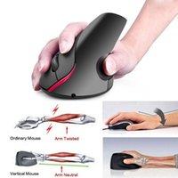 mouse ergonômico vertical sem fio venda por atacado-Rato Ergonômico Vertical Sem Fio 2.4G 5 Botões Mouse 2400 DPI Computador USB Recarregável Mouse Óptico para PC Portátil Escritório