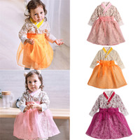 vestidos de las muchachas asiáticas al por mayor-New Baby Girls Hanbok tradicional coreano vestido de estilo de moda de algodón de manga larga de impresión 1-6 años de edad niño ropa asiática