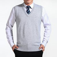 жилет из серой шерсти оптовых-2018 gray New Arrival Solid Color Sweater Vest Men Cashmere Sweaters Wool Pullover Men  V-Neck Sleeveless Jersey