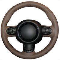 ingrosso volante in pelle marrone-Coprivolante per auto cucito a mano in vera pelle marrone scuro per mini coupé