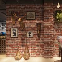 vinyl-ziegel-tapeten großhandel-10M Rustikale Vintage 3D Faux Brick Tapetenrolle Vinyl PVC Retro Industrial Loft Tapeten Rot Schwarz Grau Gelb Waschbar
