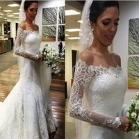 Wholesale romantic elegant sexy wedding dresses for sale - Group buy Elegant Long Sleeves Mermaid Beach Lace See Through Wedding Dresses Off the Shoulder Backless Romantic Sexy Bridal Gowns