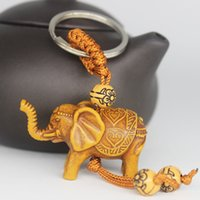 Wholesale metal elephant keychain resale online - Fashion New Ethnic Style Keychain D Elephant Lucky Carving Imitation Wooden Pendant Keychain Key Ring Chain Decor Gift