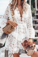 l pipa al por mayor-Encaje vestidos con cuello en V para las mujeres Sexy mujer con paneles de ropa asimétrica de verano de manga larga de tuberías de prendas de vestir