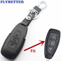 ford кожаный чехол для автомобиля оптовых-FLYBETTER Натуральная кожа 3-кнопочный чехол для смарт-ключа для Ford Focus / C-Max / Mondeo / Kuga / Fiesta / S-Max / Grand Car Styling L2212