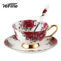 ingrosso porcellana di tè-Yefine ceramica pomeriggio tè nero tazze e piattini bone china tazza di caffè con vassoio in porcellana bicchieri set dropshipping j190716