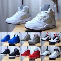 erkekler ateş ediyor toptan satış-Yeni Klasik 5 5 s V OG Siyah Metalik Beyaz Çimento çocuklar Basketbol Ayakkabıları erkek kız bebek çocuk Boost Olimpiyat Ateş Kırmızı Spor Ayakkabı