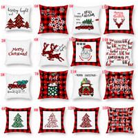 almohadas de camiones al por mayor-regalo del favor de Cubiertas del amortiguador Funda de almohada de Navidad tela escocesa Feliz Navidad del árbol de navidad ciervos Camión del hogar del amortiguador del partido FFA3319C decorativo