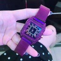 montre carrée violette achat en gros de-2018 Femmes En Acier Inoxydable Mesh Quartz Montres Dame Imperméable Violet Pourpre En Cuir Carré Montres-Bracelets Horloge Montres Femme