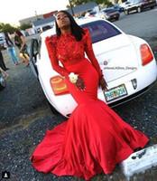 ingrosso fiore rosso pizzo nero-2019 Red Mermaid Abiti da ballo africani Fiori 3D Abiti da sera a maniche lunghe Black Girl Lace Applique Abiti da festa celebrità formali Vestidos