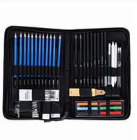 Wholesale drawing professional for sale - Group buy 48PCS Sketch Wood Pencil Painting Tool Set Professional Drawing Graphite Pastel Pencil Art Student Pencil Sharpener Pastel Pen
