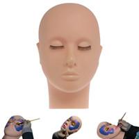 cabeza modelo maniquí al por mayor-Maniquí Cabeza plana Práctica de silicona Extensiones de pestañas falsas Maquillaje Modelo Masaje Herramientas de práctica de entrenamiento RRA898