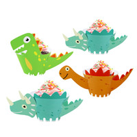 ingrosso compleanno cupcake wrapper-Nuovo arrivo 12pcs Cartoon Dinosaur Cupcake wrapper Paper Birthday Party Forniture per bambini Baby Shower decorazione torta forniture Dino