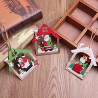 Wholesale kids crafts home resale online - 1PC House Shape merry Christmas Tree Pendants Ornaments Xmas DIY Wood Crafts Kids Gift for Home Christmas Party Decoration FDH