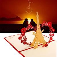 музыкальная подарочная бумага оптовых-LED Light Music 3D Pop Up открытки открытки День рождения Рождество Свадьба Освещение Бумага Craft карты Carving Искусство Подарки