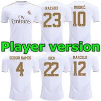 erkekler için uniform gömlekler satışı toptan satış-19 20 Oyuncu Versiyonu Real Madrid 2019 TEHLİKE BENZEMA ev Futbol Formaları 19 20 Erkek oyuncu versiyonu Futbol formaları Satışa Spor Üniformaları