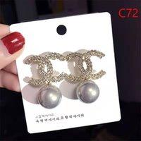 kızlar için gümüş inciler toptan satış-Yeni klasik Lüks Tasarımcı Saplama Küpe Inci Kulak Saplama Küpe Kadınlar için Altın Gümüş Takı Aksesuarları Hediye Kızlar