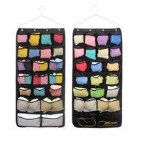 calcetines de bolsa al por mayor-42 Pocket Double Side Hanging Bag mesh Organizador de bolsillo para sujetador calcetín ropa interior armario bolsa de almacenamiento 88.5 * 44cm