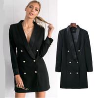 ingrosso blazer feminino-donne blazer e giacche Autunno moda doppio petto elegante signore giacca sportiva feminino cappotto femminile Solid Style Long Black giacca