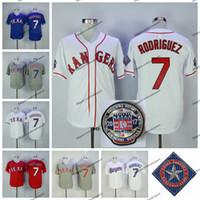 jersey de iván rodríguez al por mayor-Vintage 7 Ivan 'Pudge' Rodriguez Jersey 2017 Salón de la Fama de Texas Baseball Jerseys Rangers Ivan Rodriguez camisetas cosidas