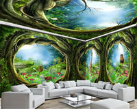 Wholesale fantasy room decor for sale - Group buy Home Decor d Wallpaper Fantasy Forest Animal House Background Wall Living Room Bedroom Purple Delicate Silk Wall Paper