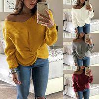 blusas femininas de cor sólida venda por atacado-Outono das mulheres de Manga Longa Blusas De Malha Fora Do Ombro Cor Sólida Com Decote Em V Pullover Tops Torção Cruz Atada Frente Jumper Solto